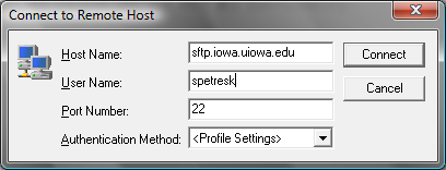 Remote access options SSH/SFTP University Resources H: drive Personal file space, Departmental Drive, DFS Host: