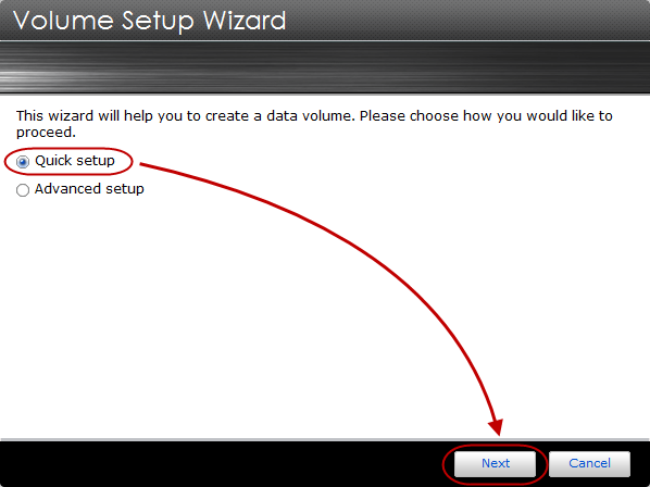 STEP 2 The Volume Setup Wizard window will now appear.