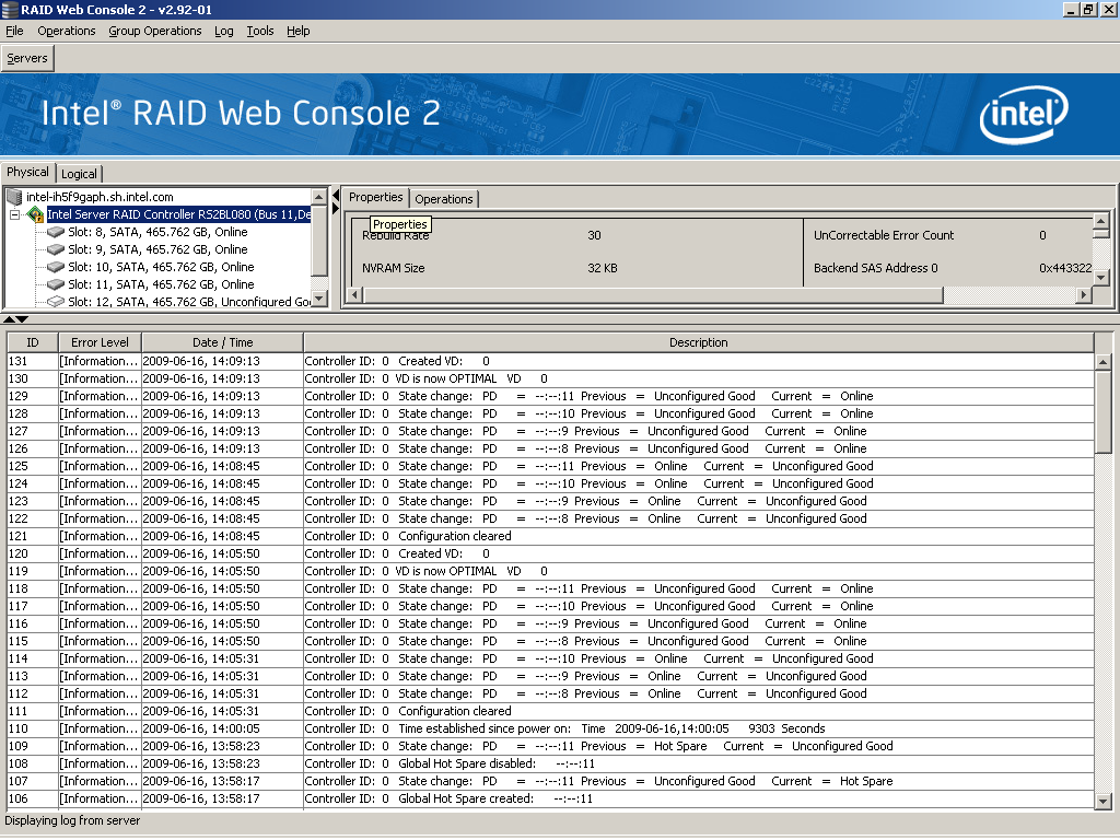 Monitoring System Events and Devices The Intel RAID Web Console 2 enables you to monitor the status of disk drives, virtual disks, enclosures, and other devices.