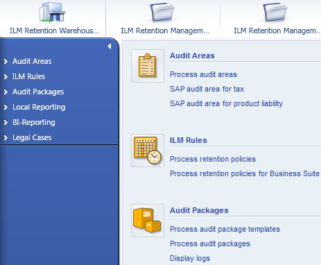 User interface and content Enhance cockpits for retention management and retention warehouse Solution enhancements Cockpits in SAP NetWeaver Information Lifecycle Management include all transactions