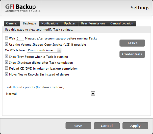 11.2.2 Backups tab Use the Tasks and Credentials buttons in the Backups tab to view and modify settings related to how GFI Backup executes tasks and which credentials