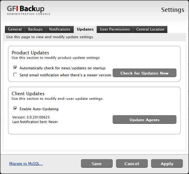 Screenshot 67 - GFI Backup Settings: Updates tab