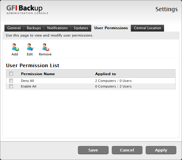 11.2.5 User Permissions tab Use the User Permissions tab to add new, edit or remove user permission profiles.