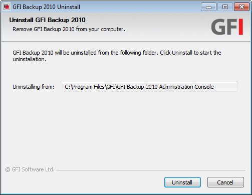 Screenshot 71 - Uninstall GFI Backup 4.