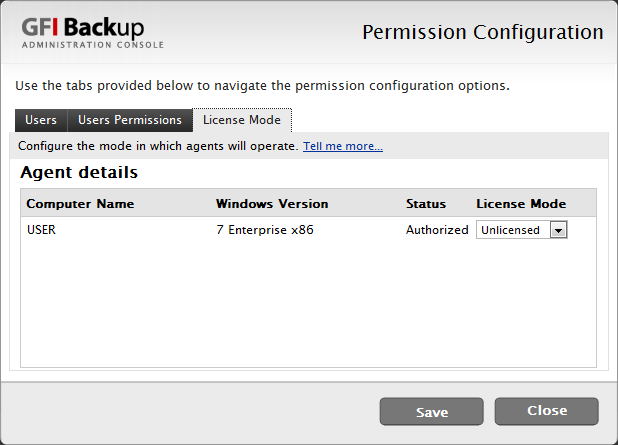 Screenshot 16 - Configure License type 5. Select License Mode tab to configure the license type for the selected agents.