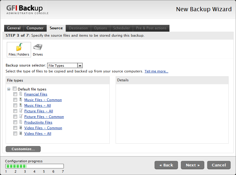 Screenshot 22 - New Backup task: Select Source, File types 36