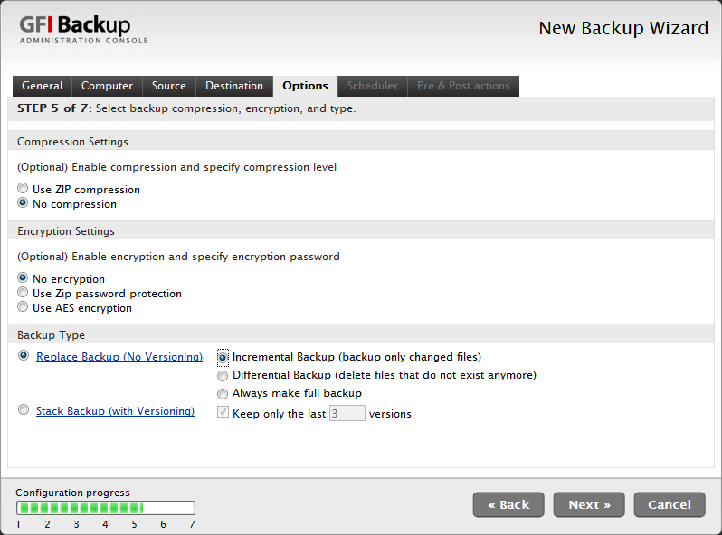 Screenshot 31 - Backup options tab 9. In the Options tab, select the compression and encryption settings as well as the type of backup. Click Next to continue new backup setup.