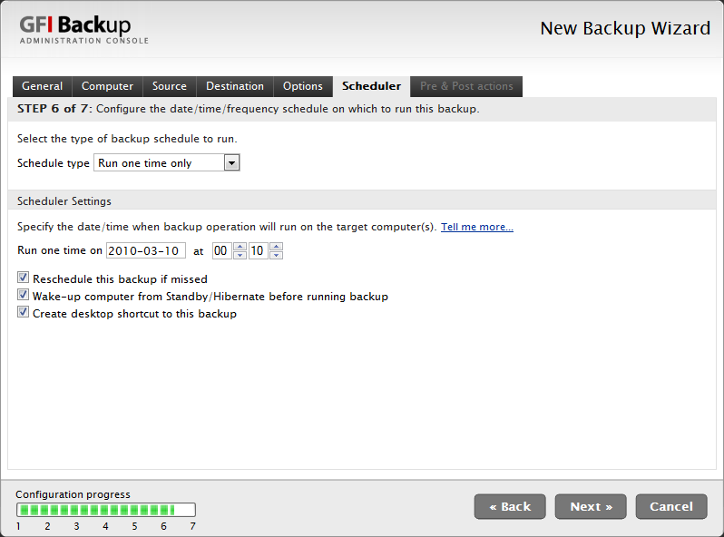 Screenshot 32 - Scheduler tab 10. In the Scheduler tab, set up the backup schedule that the new backup task being configured will follow and click Next to continue setup.