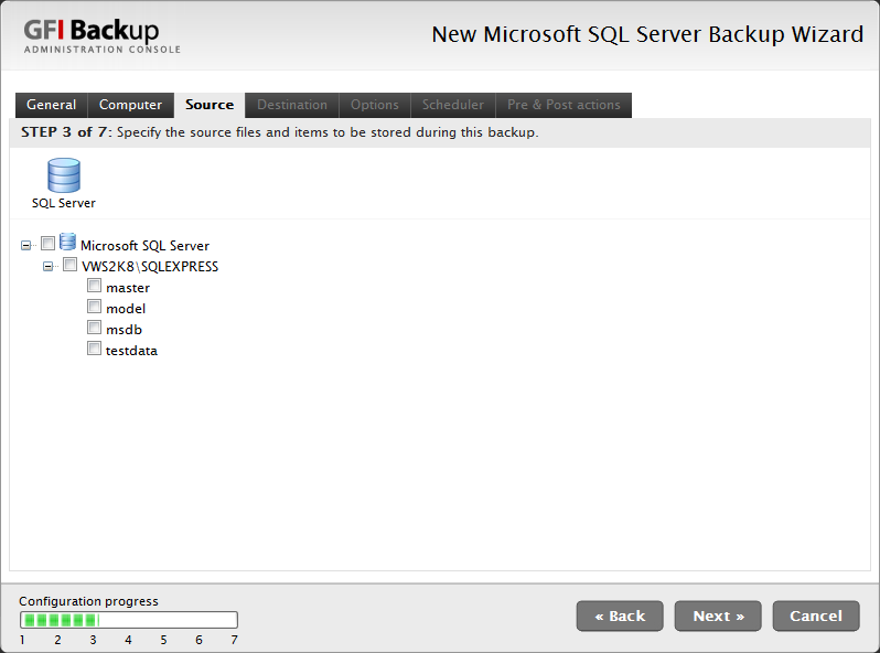 Screenshot 54 - Microsoft SQL Server Backup - Source Tab 6. In the Source tab, select the databases to back up, and click Next to continue setup.