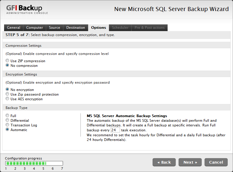 Screenshot 55 - New Microsoft SQL Server Backup wizard - Options tab 8.