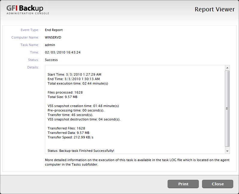 Screenshot 59 - GFI Backup report 2.