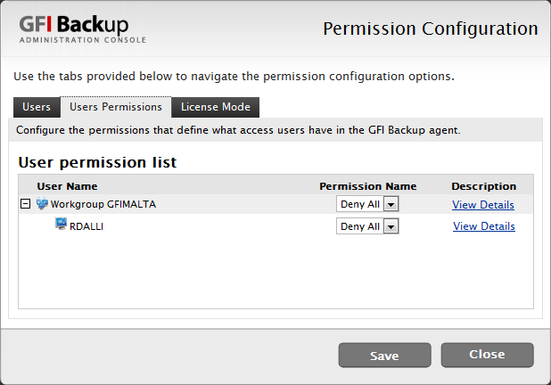 Screenshot 61 - Select Users Permissions tab. 3.