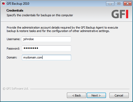 Screenshot 3 - GFI Backup Administration Console installation: Specify credentials used for local backup 6.
