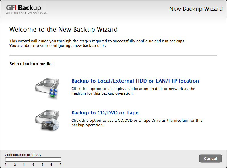 Screenshot 8 - GFI Backup: Select the destination media used for backup 3.