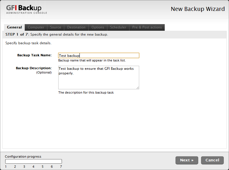 Screenshot 9 - New Backup task: General tab Testing GFI