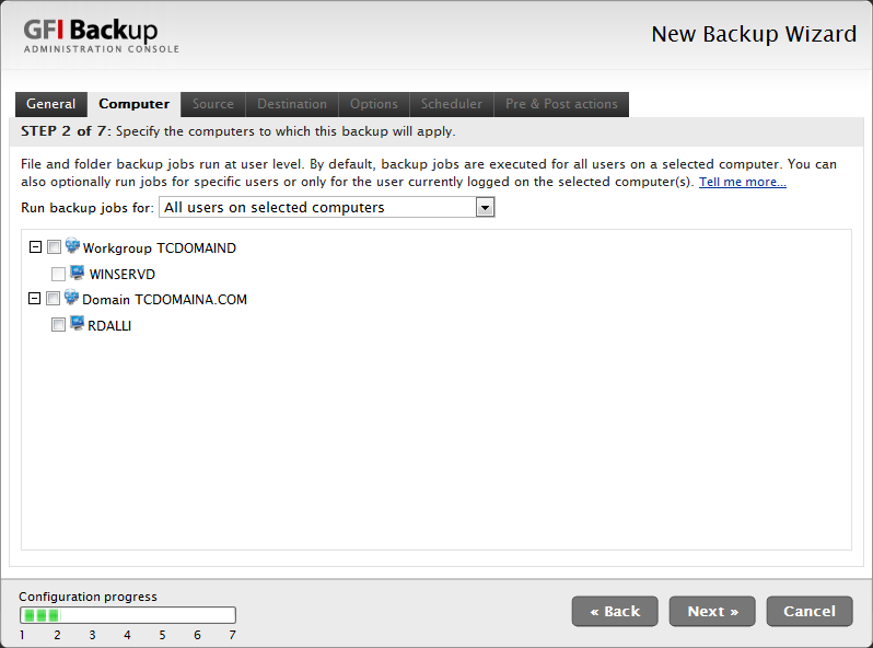4. In the General tab, key in the new backup task details: Backup Task Name: Define the backup task name that will be associated with the new task being created. E.g., Test backup.