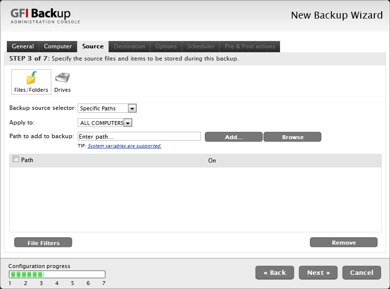 Screenshot 11 - New Backup task: Source tab 7. In the Source tab, select the source files/folders, drives and/or emails to back up, and click Next to continue setup. E.g.