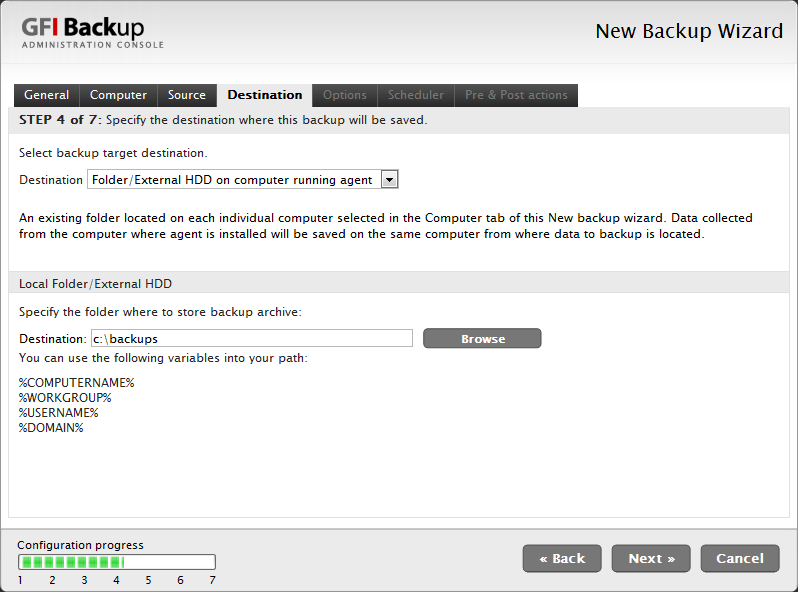 Screenshot 12 - New Backup task: Destination tab 8.