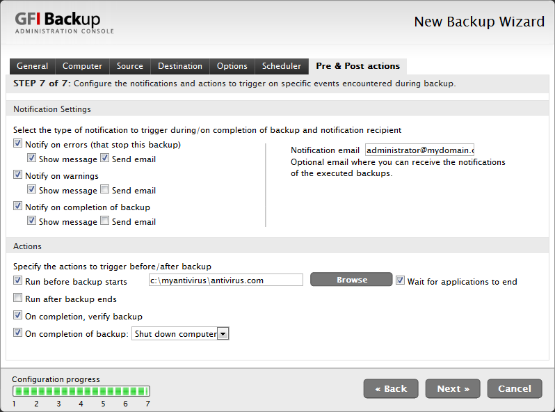 Screenshot 15 - New Backup task: Pre & Post Actions tab 11.