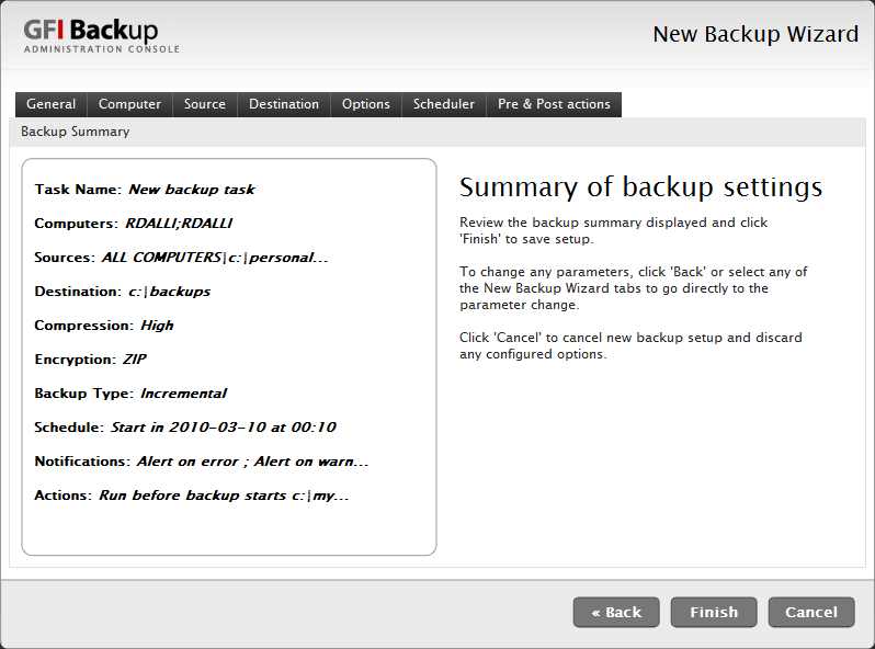 Screenshot 16 - New Backup task: Summary of backup settings dialog 12. In the Summary of backup settings dialog review the task being set up and click Finish to finalize new task setup.