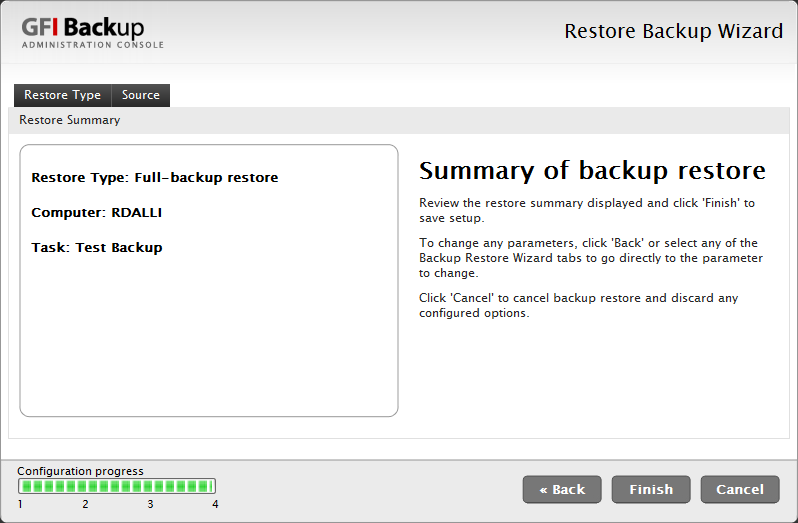 Screenshot 19 - Restore task: Summary of backup restore dialog 7. In the Summary of backup restore dialog, review the restore information displayed. 8.