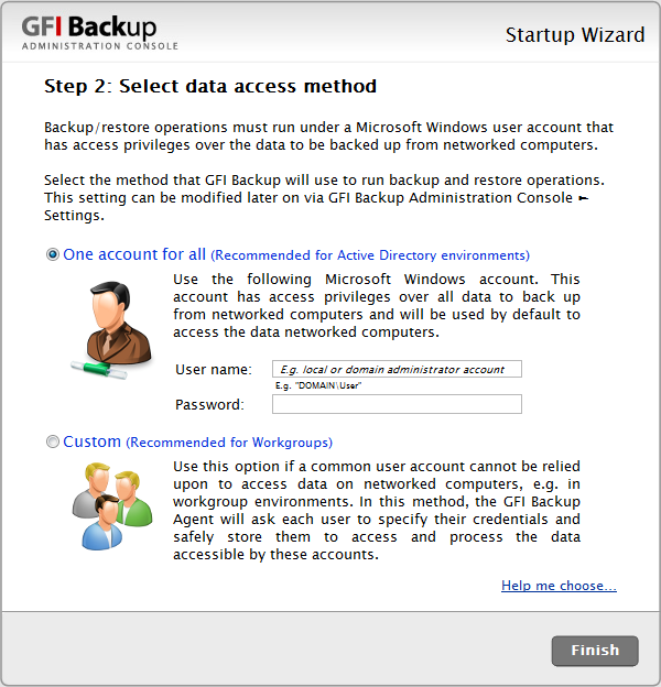 Screenshot 20 - GFI Backup: Select Data Access Method The One account for all option requires that you provide a single set of credentials that have read rights over all the data to back up and write