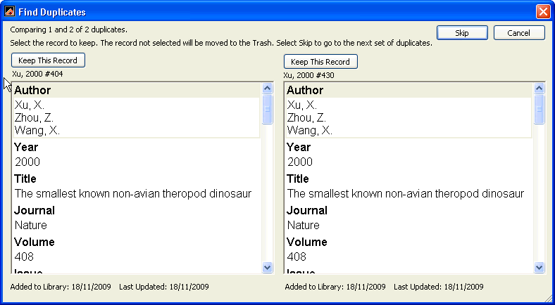 6.4 Removing duplicates 1. Make sure that your required library is open and all the references are shown. 2. From the References menu, select Find Duplicates. 3.