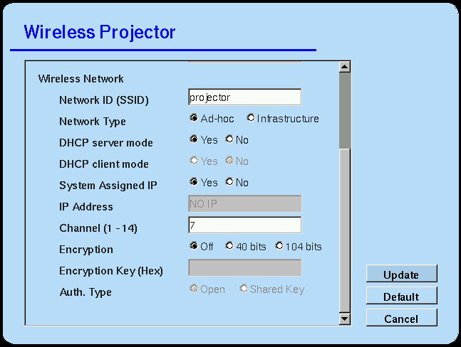 Configuring the Network Settings on the Projector Caps... Replaces an upper case with a lower case and vice versa. Tab... Tabulates a character or characters. Space... Enters a space for one character.