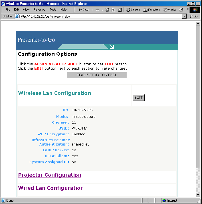 Using the Web-based Control Facility How to Change the Projector s Wireless LAN Settings 1.