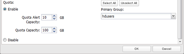 "1 In Settings, click File Sharing. 2 Click to the right of ""Users"". 3 Select the user whose space will be limited."
