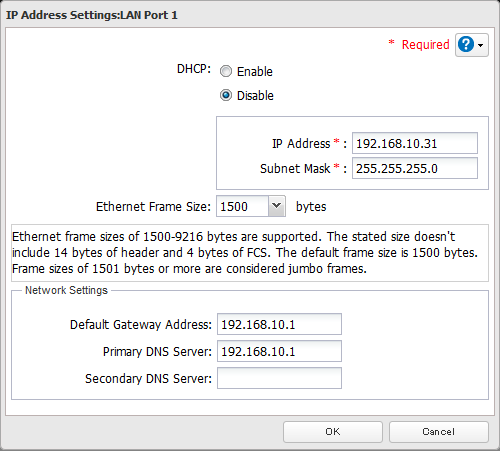 Changing the IP Address Normally, the TeraStation's IP address is set automatically from a DHCP server on your network. If you prefer, you can set it manually.