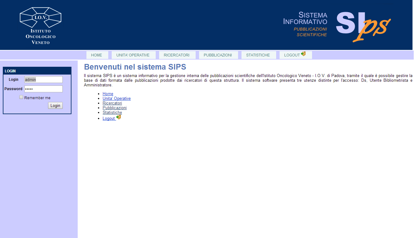 SIPS SIPS: Sistema Informativo Pubblicazioni Scientifiche Project started in 2010 Team: Apostolico + Andretto MAIN