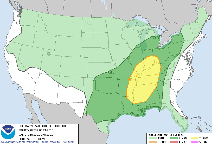 Severe Weather Outlook, Days 1-3 Day 1 Day 2 http://www.spc.noaa.
