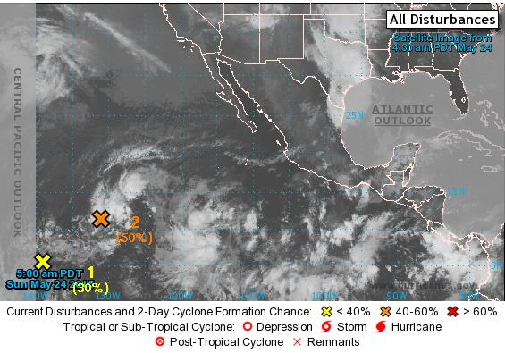 2-Day Tropical Outlook Eastern Pacific Area 1 (as of 5:00 a.m.