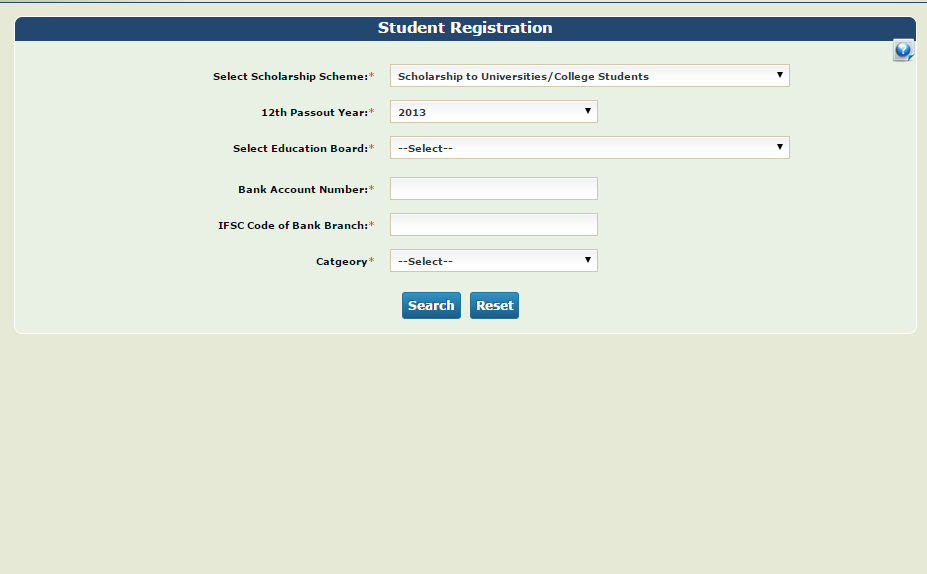 Figure 4:Student Registration 4. The student registration page will be displayed and student will select the Scheme Scholarship to Universities/College Students 5.
