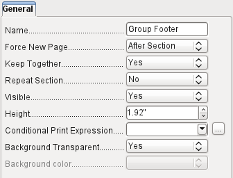 Reader_Name header is the header for the grouped and sorted data. In the fields that are to contain data, the names of the corresponding data fields are shown in light gray.