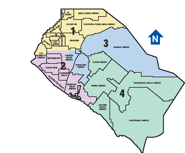 Fig. 1: Map - Community College Districts in Orange County 1. North Orange County Community College District 2.