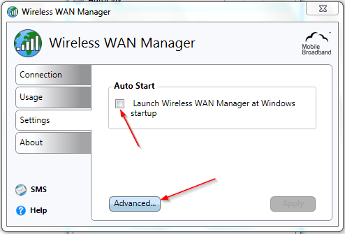 ver4.3 page: 7 7) Once you entered the PIN code you will have to configure the Wireless WAN Manager by going to the Settings pane 8) In the Settings pane, check the Launch Wireless