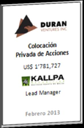 Kallpa SAB: Primary Offerings of shares - Kallpa Securities is the leader in equity primary private placements among