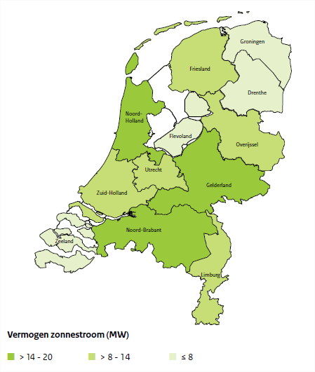 Granted total Capacity (MW) Figure 4-2: Distribution of the total granted power of PV-panels in the SDE and SDE+ granted (not installed) in 2011 showing the Dutch communities in total W p (source: