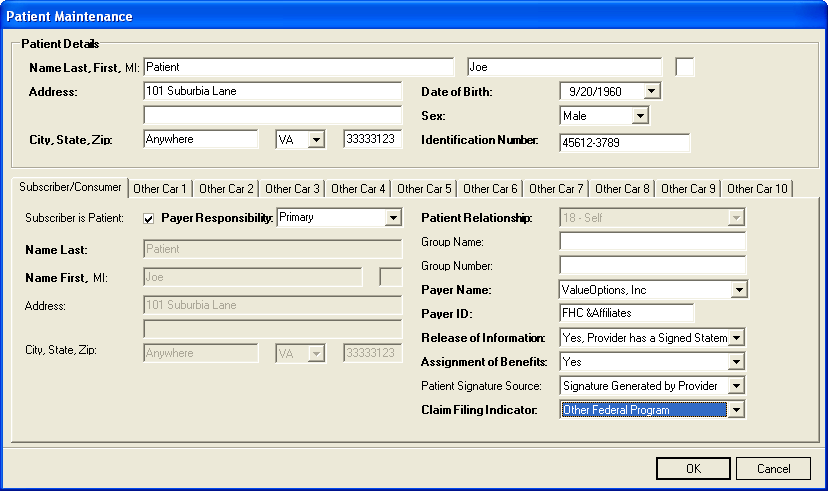 3. The Patient Maintenance Screen displays: 4. Enter the patient s demographics and Patient ID number. Note: The Date of Birth field must be in MMDDCCYY format (e.g., 01/01/2000). 5.
