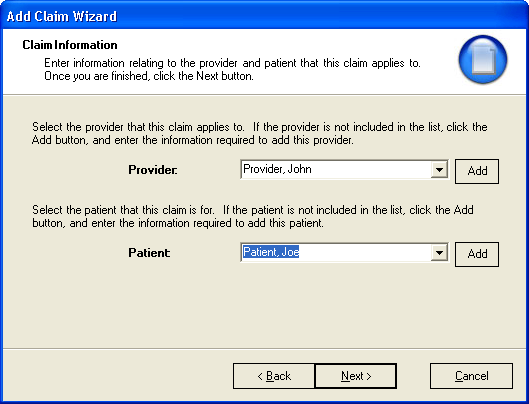 4. The Add Claim Wizard continues; select an existing provider and patient from the drop down boxes, then