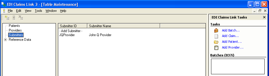 Identifying and Adding the Submitter EDI Claims Link for Windows A submitter is the individual or billing agent assigned by the Service Provider to prepare and submit claims on their behalf.