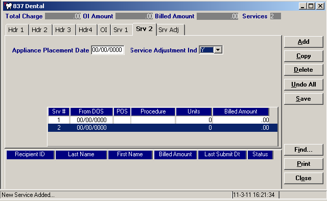 Click on the new service line and then enter the dental service data in the data fields, as described previously. Step 7.