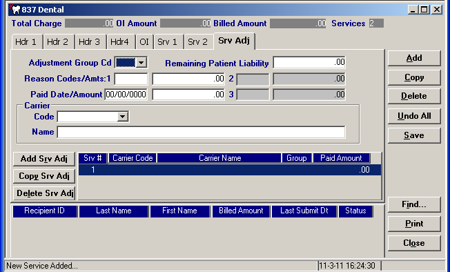 the date was October 1, 2011. Service Adjustment Indicator Select the adjustment code from the drop down list or enter an appropriate value as specified.