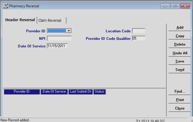 The NCPDP Pharmacy Reversal Form appears, with the Header Reversal screen displayed. Step 2. Complete Header Reversal.