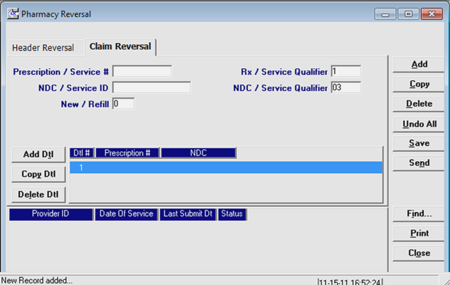 The Claim Reversal screen is displayed. Prescription / Service # Rx / Service Qualifier NDC / Service ID NDC / Service Qualifier New/Refill Enter the ID number of the prescription that was filled.