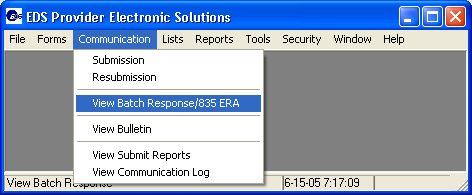 CAQH CORE website http://www.caqh.org The View Batch Response/835 ERA option lets you view and print a Batch of 271 Eligibility Responses or an 835 ERA.