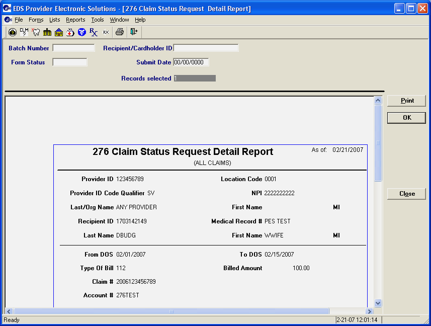 Step 5. Use the scroll bars (located on the right side and bottom of the screen) to view the entire report. Step 6. Click to print the 276 Claim Status Request Detail Report. Step 7.