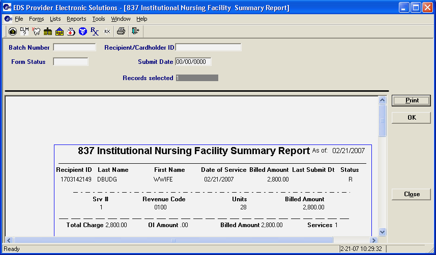 Step 5. Use the scroll bars (located on the right side and bottom of the screen) to view the entire report. Step 6. Click to print the 837 Institutional Nursing Home Summary Report. Step 7.